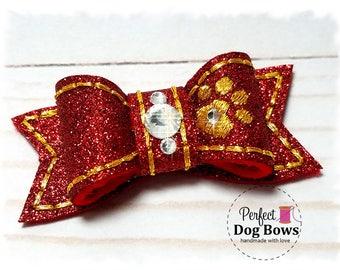 Red Dog Bow, Christmas Dog Bow, Fancy Show Bow, Red Pet Bow, Red Christmas Bow, Gold Dog Paw, Pet Hair Accessory, Xmas Dog Bow