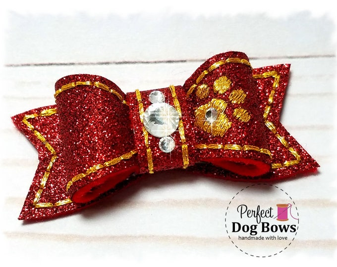 Red Dog Bow, Christmas Dog Bow, Fancy Show Bow, Red Pet Bow, Red Christmas Bow, Gold Dog Paw, Pet Hair Accessory, Xmas Dog Bow