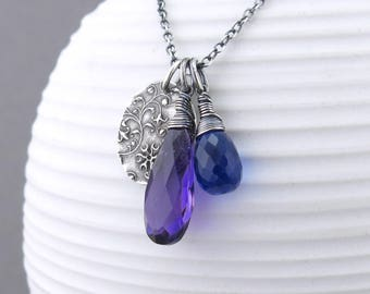 Amethyst Necklace Gemstone Layering Necklace Silver Charm Necklace Gemstone Pendant Necklace Boho Necklace Christmas Gift for Wife - Duets