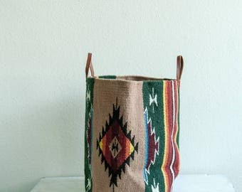 Woven Bucket- Tan and Forest Green with Native Pattern Style Fabric