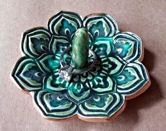 Ceramic Lotus Ring Holder Bowl  gold edged Peacock Green