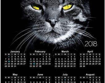 """Fierce Black Cat With Yellow Eyes 2018 Full Year View 8"""" Calendar - Magnet or Wall #3835"""