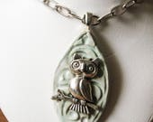 Quirky Awakened Pale Green and Blue Owl Totem Pendant On Textured Handmade and Painted Ceramic Earth Goddess Pagan Pendant