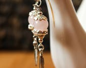 Pink Rose Quartz Orb Bead with Silver Tone Feather Boho Gypsy Dangle Earrings