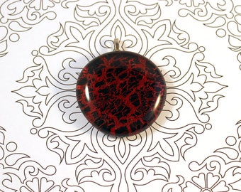 Red and black crackle pendant,large pendant necklace, nail polish painted glass pendant, Crackle polish pendant necklace, netherlands