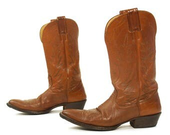 Vintage Nocona Cowboy Boots Classic Western Women's Horse Motorcycle Riding Boots Worn In Brown Leather Traditional Embroidery Women's 10
