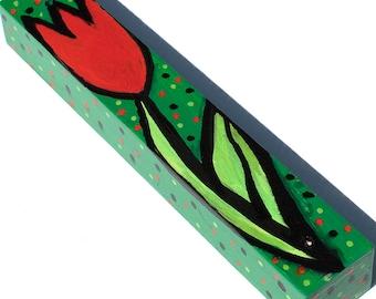 Flower Mezuzah - Red Tulip Mezuzah Case - Hand Painted Wood Mezuzah - Jewish Gift for Her - Judaica by Claudine Intner