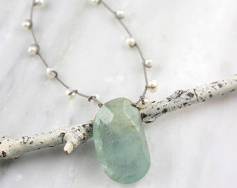 Aquamarine and Knotted Pearl Necklace
