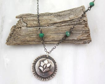 Flower Charm and Chrysocolla Oxidized Silver Necklace
