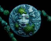 A Mysterious Mermaid and her Sea Turtle Friends Handmade OOAK polymer clay cameo face cabochon