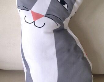 Sweet grey cat soft stuffed pillow
