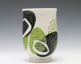 Green Black and White Porcelain Wine Juice Cup
