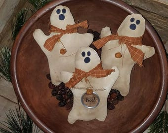 3 Primitive Grungy Rustic Halloween Spooky BOO Ghost Ornies Ornaments Bowl Fillers Tucks Shelf Sitters