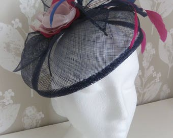 Navy blue fascinator with pink fabric flower and feathers on a headband.  Wedding hat. Ascot hat. Navy hatinator