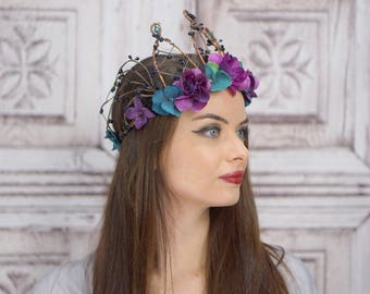 Dark Purple and Teal Woodland Crown, Peacock Flower Crown, Woodland Headdress, Headpiece, Fairy , Elven Crown, Bridal, Wedding, Boho