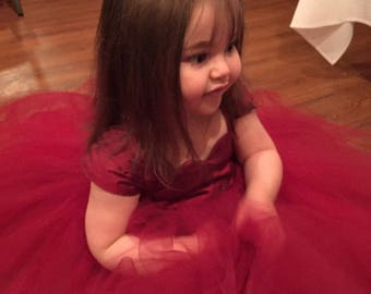 Deep Red Flower Girl Dress, Red Tulle dress, Girls Red Dress, Silk Red Dress, Girls dress, Tutu dress, Christmas dress, holiday dress, gown