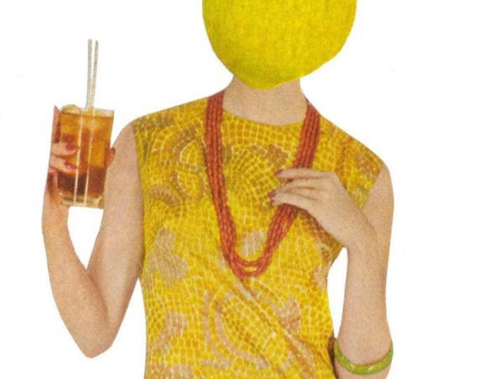 Colorful Kitchen Artwork, Yellow Lemon Art, Citrus Fruit Decor