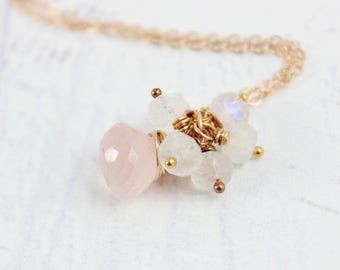 Blush Pink Necklace, Light Pink Necklace, Rose Gold Necklace, Rose Quartz Necklace, Pink Rose Gold Necklace, White Rainbow Moonstone