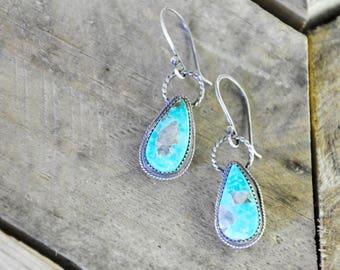Turquoise Drop Earrings / Modern Jewelry / Silver
