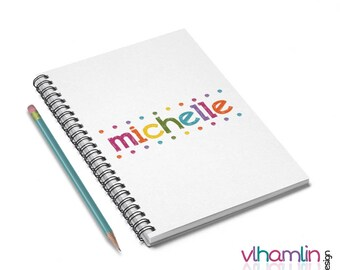 Personalized Notebook - Colorful Lights Spiral Notebook - Lined Notebook - Gifts For Her - Custom Notebook