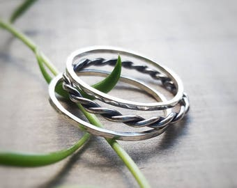 Sterling Silver Stack Ring Set,Oxidized Silver Ring,Hammered Silver Ring,Recycled Metal Jewelry, Eco Friendly Jewelry, Rustic - Garland
