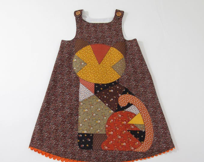 Calico Cat Girls Dress, Girls Dresses, Kitty Cat Dress, Sundress - Size 6 Girls