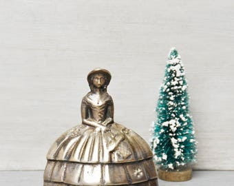 "Vintage Brass Southern Belle Bell - 3.5"" woman in Victorian hoop skirt dress bonnet - figurine dinner handbell chime"
