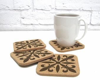 FLEUR DE LIS Cork Coaster Set Hostess Gift Idea Cubicle Dorm Room Decor