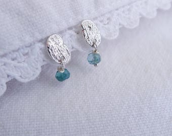 Recycled Sterling Silver Flake Dangle Stud Earrings with Faceted Green Blue Tourmaline Drops