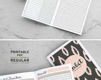 Printable Habit Tracker Traveler's Notebook Inserts, MTN Habit Tracker Inserts, Printable Midori Habit Tracker inserts, PDF file
