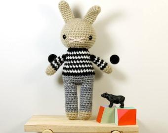 skip .. amigurumi rabbit toy, easter bunny rabbit, boys plush plushie stuffed animal