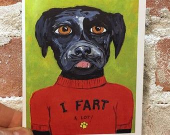 Funny Pet Owner Card - Farting Dog Card - Black Labrador Card -  Blank Inside - Bathroom Humor - Black Labrador Card - Gift for Pet Lover