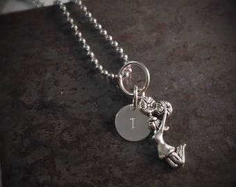 Personalized Cheerleader and Initial Charm Necklace