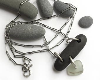 Sterling Silver Kinetic Black Lake Erie Beach Stone Aqua Seafoam Safety Sea Glass Long Natural Necklace Handmade Clasp