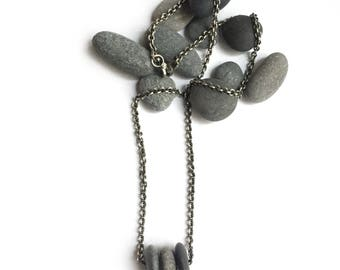Sterling Silver Natural Lake Erie Beach Stone Trio Necklace 18.5 Inch Cable Chain