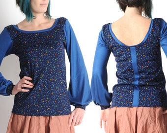 Blue jersey top, Blue and black womens top in vintage patterned jersey, Blue shirt with long gathered sleeves