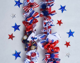 Dog Bows Patriotic, 4th of July, USA, Red White & Blue