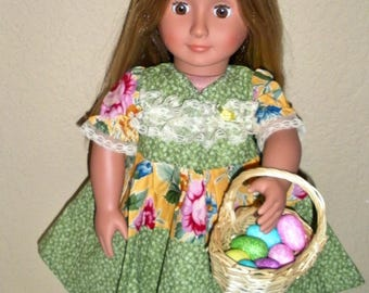 Green & Yellow Easter Dress---Girl Doll dress---doll clothes---doll dress