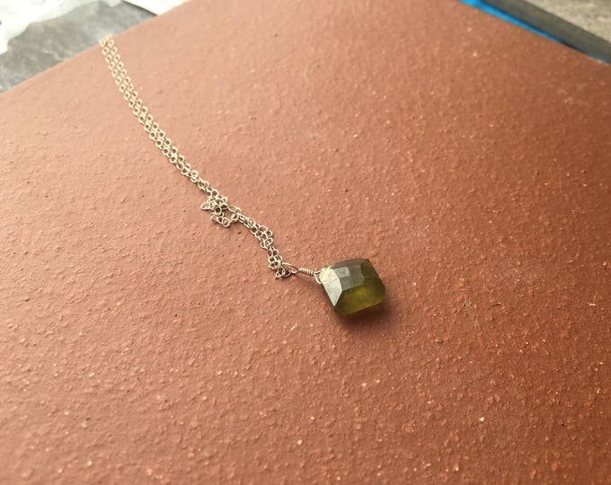 Green Vessuvianite Cushion Cut Gemstone Littles Necklace Minimalist Dainty Delicate
