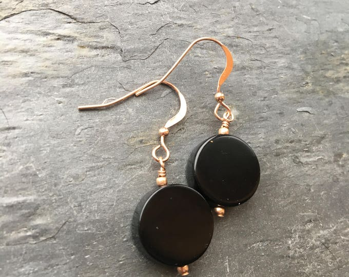 Black Onyx Smooth Round Rose Gold Filled Littles Earrings Talisman LBD Good Luck Simple Minimalist Modern Bridesmaid