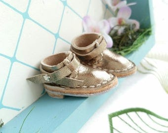 Blythe Doll Shoes Mini Silver Leather Boots Azone Pure Neemo M Size