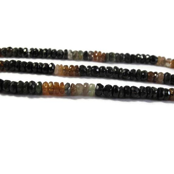 Petrol Tourmaline Beads, Faceted Rondelles, 5mm, 7 Inches of Microfaceted Gemstones for Making Jewelry (R-Tou5b)