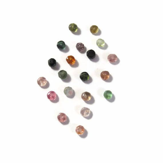 Tiny Beauties, Twenty 2mm - 3mm Multi Tourmaline Beads, 20 Faceted Rondelles, Natural Gemstones for Making Jewelry (R-Tou1b)