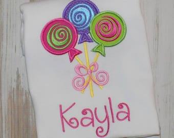 Lollipop Shirt, Candyland shirt, Lollipop Birthday Shirt, Girl Lollipop Shirt, Lollipop trio shirt, Candyland outift, sew cute creations