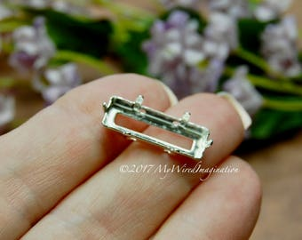 21x7mm Princess Cut Crystal Setting, Silver or Antique Bronze Plated Prong Setting, Empty Settings, Nickel Free, Long Octagon Setting
