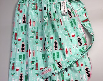 Half Apron - Vintage Pin Up Skirt Style - Christmas Holiday Cocktails Green