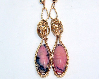 Egyptian SCARAB Earrings Pink Rhodenite  9 cts Gemstone 14k Gold Filled Wire Wrapped Setting