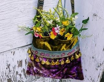 RESERVE Purple and green velvet boho bag  carpet bag