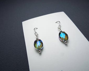 Peacock Faceted Crystal Silver Earrings Sterling silver ear wires