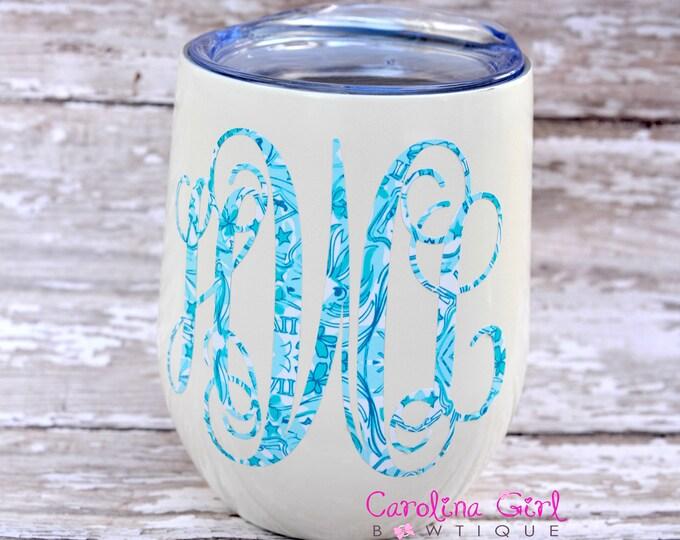 Lilly Pulitzer Sorority  Inspired Vine Monogram Decal ~ Yeti Decal ~ Lilly Car Decal ~ Lilly Decal ~ Lilly Sticker